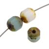 Fire polished 6mm Lantern Mix White Aqua Opal Travertine